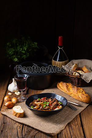 classic beef goulash with peppers and