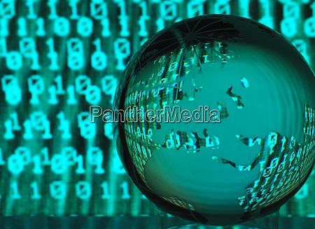 global cyber crime glass globe illustrating