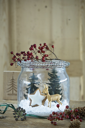 preserving jar with christmas decoration