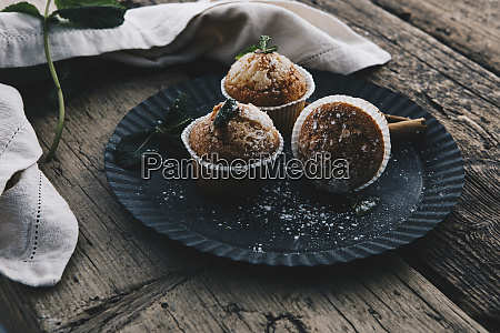 home baked muffins with cinnamon and