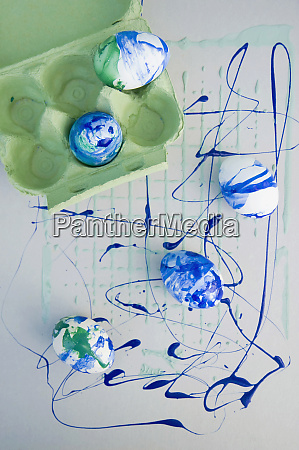 easter eggs painted with blue and