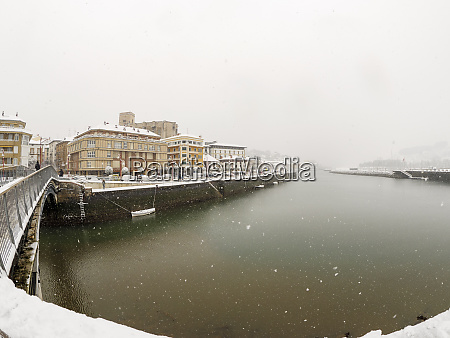 spain basque country zumaia at snowfall