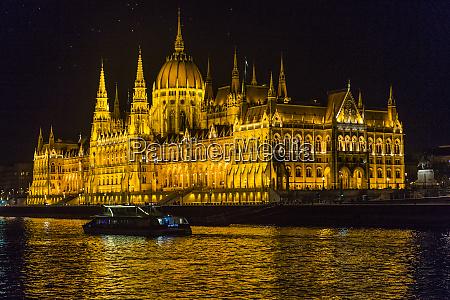 hungary budapest illuminated parliament by night