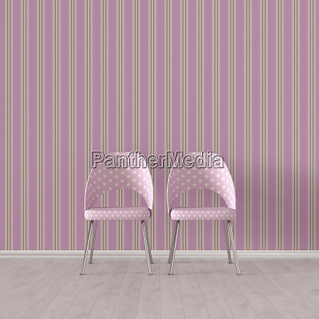 3d rendering two chairs in front