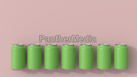 3d rendering green beverage cans on
