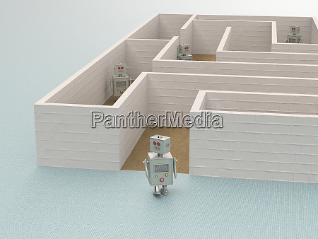 3d rendering toy robot leaving a