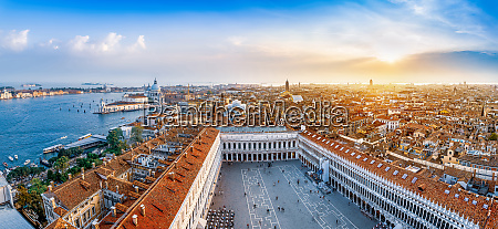 panoramic view at venice while sunset