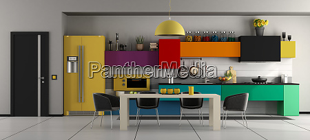 colorful modern kitchen with table and