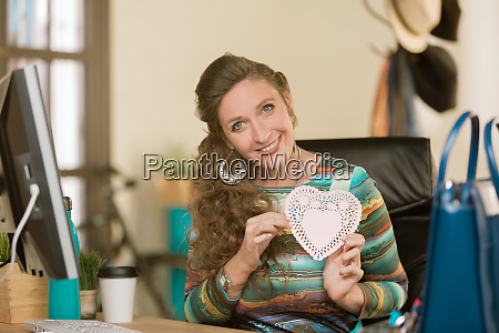 professional woman reacting positively to valentine