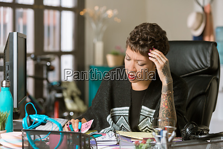 concerned woman in a creative