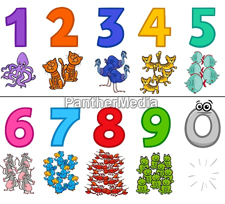 educational numbers set with cartoon animals