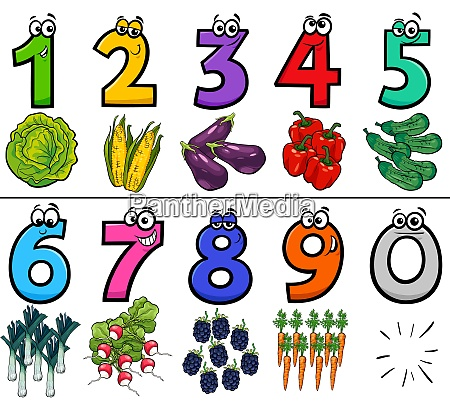 educational cartoon numbers set with food