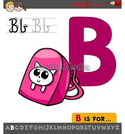 letter b worksheet with cartoon backpack