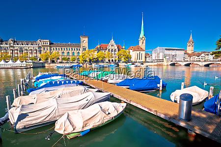 zurich waterfront landmarks autumn colorful view