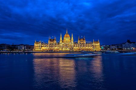 hungarian parliament and danube river at