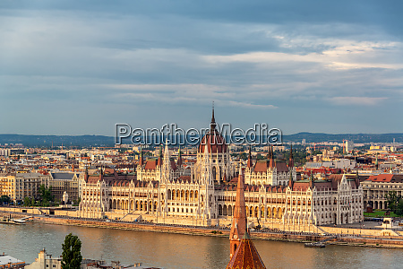 hungarian parliament during the golden hour