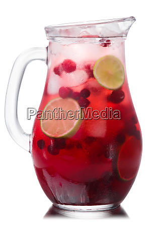 iced cranberry lime drink pitcher paths