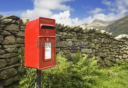 red mailbox in english lake district