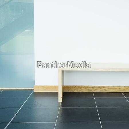 wooden bench in modern office