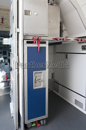 food compartment on an airplane
