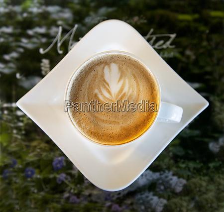 latte with a leaf pattern