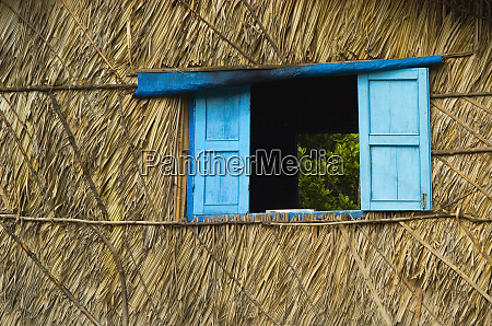 blue shutters on a palm thached
