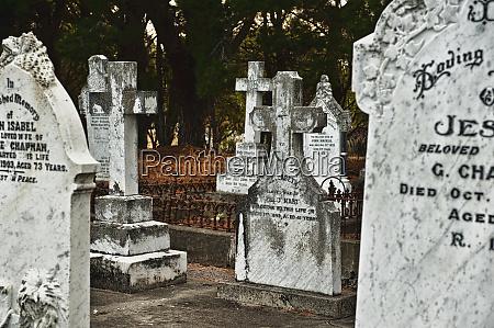 gravestones in graveyard
