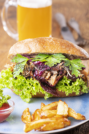 pulled pork in a bun with