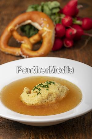 bavarian semiola dumplings in broth