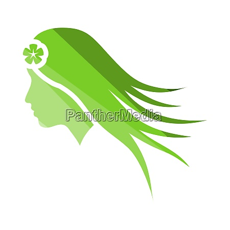 woman head with flower in hair