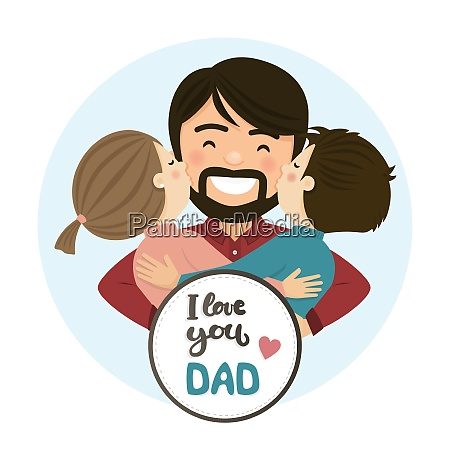 happy fathers day scene family hug