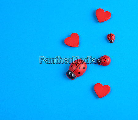 wooden decor red heart and ladybug
