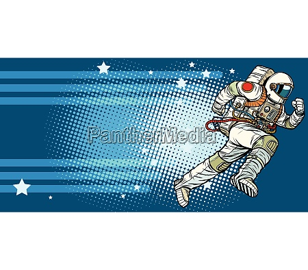 stars space astronaut runs forward