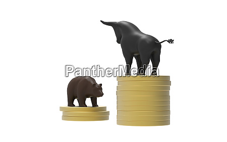 bull versus bear on gold coins