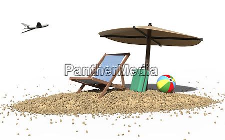 summer beach vacation and deckchair