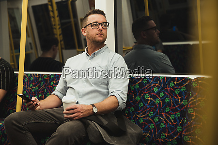businessman on public transport