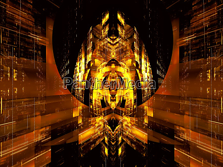 futuristic palace abstract digitally generated