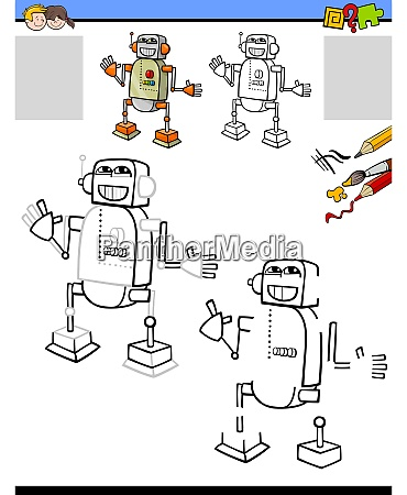 drawing and coloring worksheet with robot
