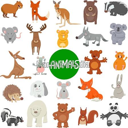 cartoon wild animal characters large set