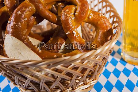 pretzel breadbasket and beer