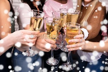 women celebrating a bachelorette party toasting