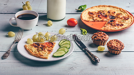 healthy breakfast with frittata cup of