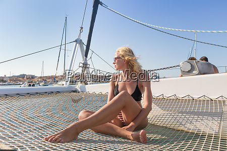 beautiful woman relaxing on a summer
