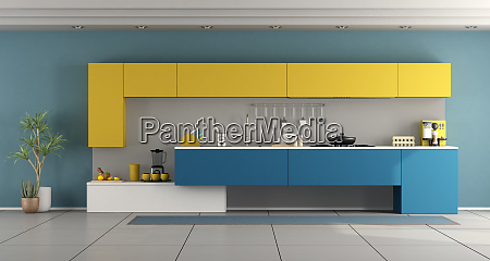 minimalist blue and yellow kitchen