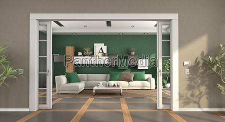 modern living room with sliding door