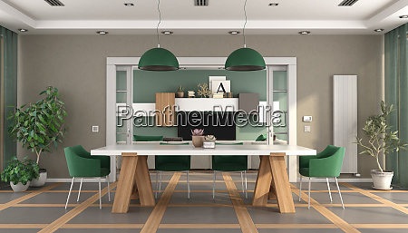 green and brown dining room with