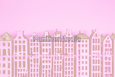stunning skyline of historic buildings pink