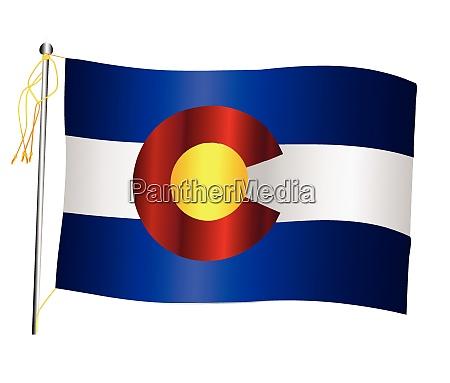 colorado state waving flag and flagpole