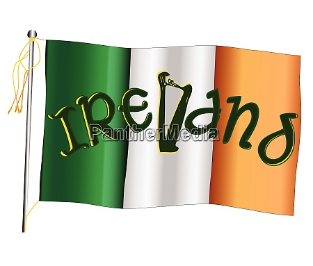 irelend waving flag and flagpole