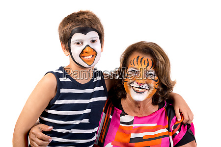 kid and granny with face paint